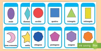 Forme 2D Vocabolario Illustrato - nomi, vocaboli, geometria, 2D, forme, figure, geometriche, italiano, italian