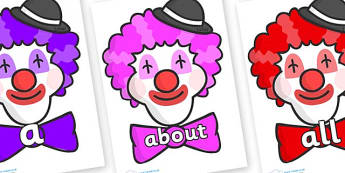 100 High Frequency Words on Clown Faces - High frequency words, hfw, DfES Letters and Sounds, Letters and Sounds, display words