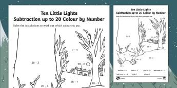 Ten Little Lights Subtraction to 20 Colour by Number - Twinkl Original, Fiction, christmas, snow, winter, Ks1, EYFS, Maths, 0-20, take away