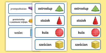Karty ze slownictwem Bryły geometryczne - bryły, geometria, matematyka, matematyczne, figury, figura, kula, stożek, walec, ostrosłup, grani