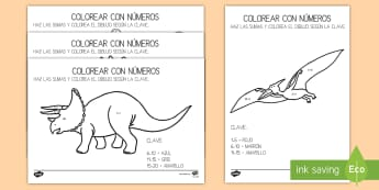 Colorear con números: Sumas hasta 10 y hasta 20 - Dinosaurios - Dinosaurios, pre-historia, dinos, tiranosaurio, estegosaurio, triceratops, proyectos, aprendizaje ba