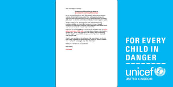 Unicef Bring a Pound Day Letter to Parents - unicef, letter