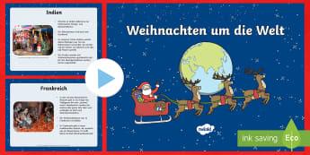 Weihnachten um die Welt PowerPoint Präsentation - Weihnachtlich, Traditionen, Europa, Feiertage, Feiern,,German