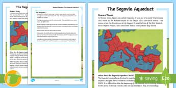 Segovia Aqueduct Fact File - Roman Spain, Ancient Rome, Cuarto Curso Primaria, Social Science, Ciencias Sociales, Spanish history
