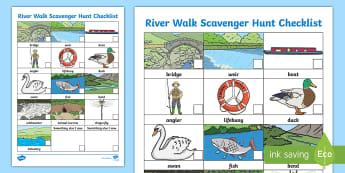 River Walk Scavenger Hunt Checklist - days out, I-spy, eye spy, nature walk, canals, observations
