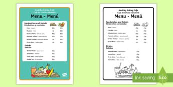 Healthy Eating Cafe Role-Play Menu - English / Spanish - Healthy Eating Cafe Role Play Menu - healthy eating cafe, role play, menu, healthy eating, cafe,rol