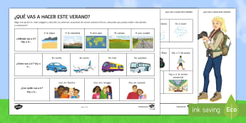 What Are You Going to Do This Summer? Writing Activity Sheet Spanish - worksheet Spanish, Vocabulary, topics, near, future, tense, writing, activity, sheet, worksheet, tex