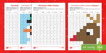 Christmas Maths Mosaic Calculations within 10 Activity Sheets - Christmas, addition, subtraction, mathematics, relieving, independent activity, christmas math, work