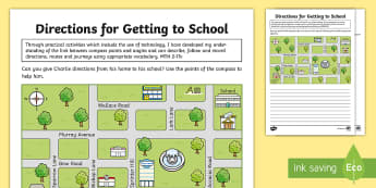 CfE Second Level Walk to School Week Getting to School Directions Activity Sheet - CfE Walk to School Week 2017 (15th-19th May) JRSO, directions, compass points, position and movement