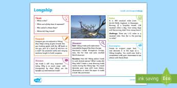 Vikings: Longship KS2 Exploration Sheet