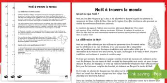 Compréhension écrite : Noël à travers le monde - célébrations, coutumes, traditions, international, cycle 3,French