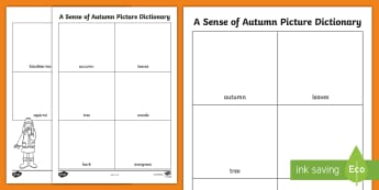 A Sense of Autumn Picture Dictionary Activity Sheets - exploring my world, seasons, Aistear, school trip, forest, blackberries, worksheets, squirrels, leav