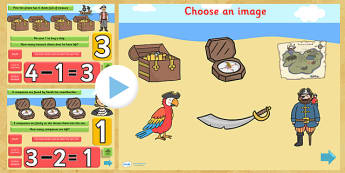 Pirate Themed Subtraction PowerPoint - pirate, subtraction, take away, minus, powerpoint, subtraction powerpoint, maths, numeracy, numeracy powerpoint