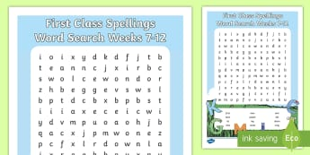 First Class Spellings weeks 7-12 Word Search - High, Frequency Words, Language, Assessment, common words,Irish
