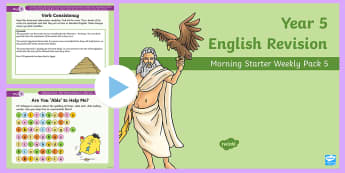 Year 5 English Revision Morning Starter Weekly PowerPoint Pack 5  - poem, comprehension, verb consistency, standard english, think and write