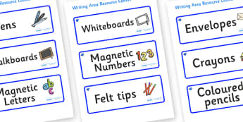 Sapphire Blue Themed Editable Writing Area Resource Labels - Themed writing resource labels, literacy area labels, writing area resources, Label template, Resource Label, Name Labels, Editable Labels, Drawer Labels, KS1 Labels, Foundation Labels, Fou