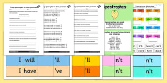 Apostrophe Resource Pack - apostrophe, punctuation pack, resource