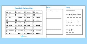 Morse Code Chart and Activity Sheet Pack - morse code chart and activity sheets, morse code, chart, activity, sheets, workshee, sheet, code, alphabet, morse code alphabet, worksheet