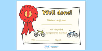 Sponsored Bike Ride Certificate - certificate, award, bike ride, sponsored, well done, reward, medal, rewards, school, general, certificate, achievement