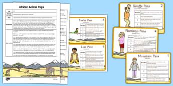 Animal Yoga Story - PE, physical education, animals, Africa, exercise