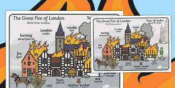 The Great Fire of London Scene Word Mat Polish Translation - polish