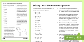 Solving Linear Simultaneous Equations Activity Sheet - Substitution, Simultaneous Equations, Algebra, Word problems, Elimination, worded problems, workshee