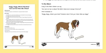 Doggy, doggy, where's my bone? Activity Kurī, kurī, kei hea tāku wheua? English/Te Reo Maoriy - New Zealand Back to School, game, activity, group play, group learning, mat time, Te Reo Maori