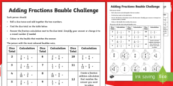 UKS2 Adding Fractions Christmas Dice Game - Numerator, Denominator, Proper, Improper, Mixed Number, reasoning, apply, mastery