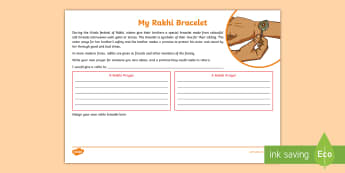 KS2 My Rakhi Bracelet Activity Sheet - Hindu,celebration, festival, family love, symbolism