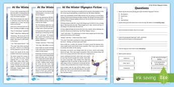 KS2 At the Winter Olympics Fiction Differentiated Reading Comprehension Activity - pyeonchang, south korea, winter olympic Games 2018, fiction text, story comprehension