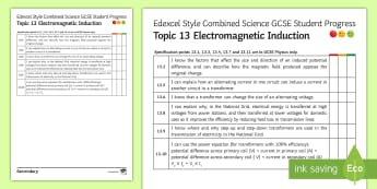 Edexcel Style Combined Science Electromagnetic Induction Progress Sheet - Transformers, national Grid, potential difference, efficiency, current