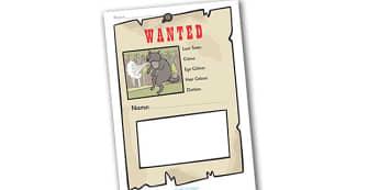 Big Bad Wolf Wanted Poster Writing Frames - Big Bad Wolf Wanted, Wanted Poster, Writing Frames, Wanted Posters, wanted, big, bad, wolf, writing template, writing frames, word cards, flashcards, template