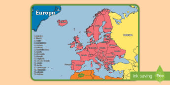 I continenti del mondo Europa Poster - Un poster con la mappa del continente europeo, completo con i nomi di tutte le nazioni!