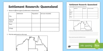 Settlement – Queensland Research Activity Sheet - ACHASSK069, Year 3, Brisbane, information, Australian Curriculum, Geography, inquiry, lesson, natura
