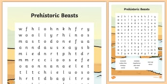 Prehistoric Beasts Wordsearch - prehistoric, word search, words