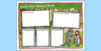 Little Red Riding Hood Story Review Writing Frame - little red riding hood, little red riding hood story review, red riding hood, traditional tales