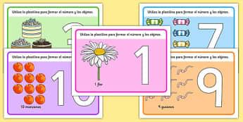 Tapiz de plastilina Números de 1 a 10 - números, plastilina, tapiz