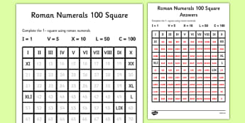 Determine the Roman Numerals Activity Sheet - roman numerals, fill in the number, square worksheet, number square, roman, numerals, worksheets
