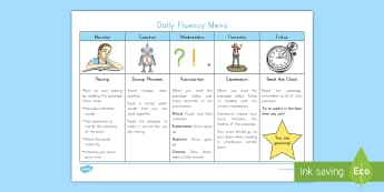 Daily Fluency Menu Desk Mat - Reading, Words per minute, expression, reading pace, reading mat, reading fluency