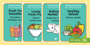 Healthy Eating Cafe Role Play Posters English/Polish - caf, food, drinks, drink, health, fruit, vegetables,Polish-translation