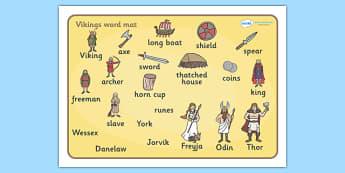 Viking Word Mat - Vikings, England, word mat, writing aid, mat, history, longboat, Scandinavian, explorers, Viking Age, longship, Norse, Norway, Wessex, Danelaw, York, thatched house, shield