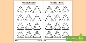Bileoga Oibre: Triantáin Iolraithe, Táblaí 2-12 - bileoga oibre: triantáin iolraithe, táblaí 2-12, traintáin iolraithe, multiplication triangles,