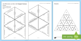Cell Differentiation and Stem Cells Tarsia Triangular Dominoes - Tarsia, gcse, biology, stem cell, stem cells, cloning, clone, clones, specialised cells, specialised, plenary activity