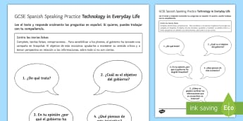 Spanish Technology in Everyday Life Speaking Practice Worksheet / Activity Sheet - Spanish, Vocabulary, speaking technology, practice, worksheet, activity, sheet.