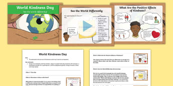 KS2 World Kindness Day Assembly Pack - random acts of kindness, generosity, community, individual, school, pledge, business