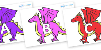 A-Z Alphabet on Dragons - A-Z, A4, display, Alphabet frieze, Display letters, Letter posters, A-Z letters, Alphabet flashcards
