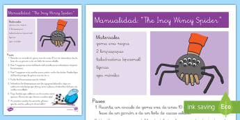 Manualidad: The Incy Wincy Spider - song, chants, craft, araña, canción, manualidad, Spanish