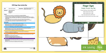 EYFS Jungle Animals Finger Gym Plan and Resource Pack - Rumble in the Jungle, Giles Andreae, Rainforest, clothes pegs, funky fingers, pegging