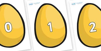 Numbers 0-100 on Golden Egg - 0-100, foundation stage numeracy, Number recognition, Number flashcards, counting, number frieze, Display numbers, number posters
