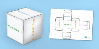 Present Tense Questions Dice Net - question words, questions, dice, games